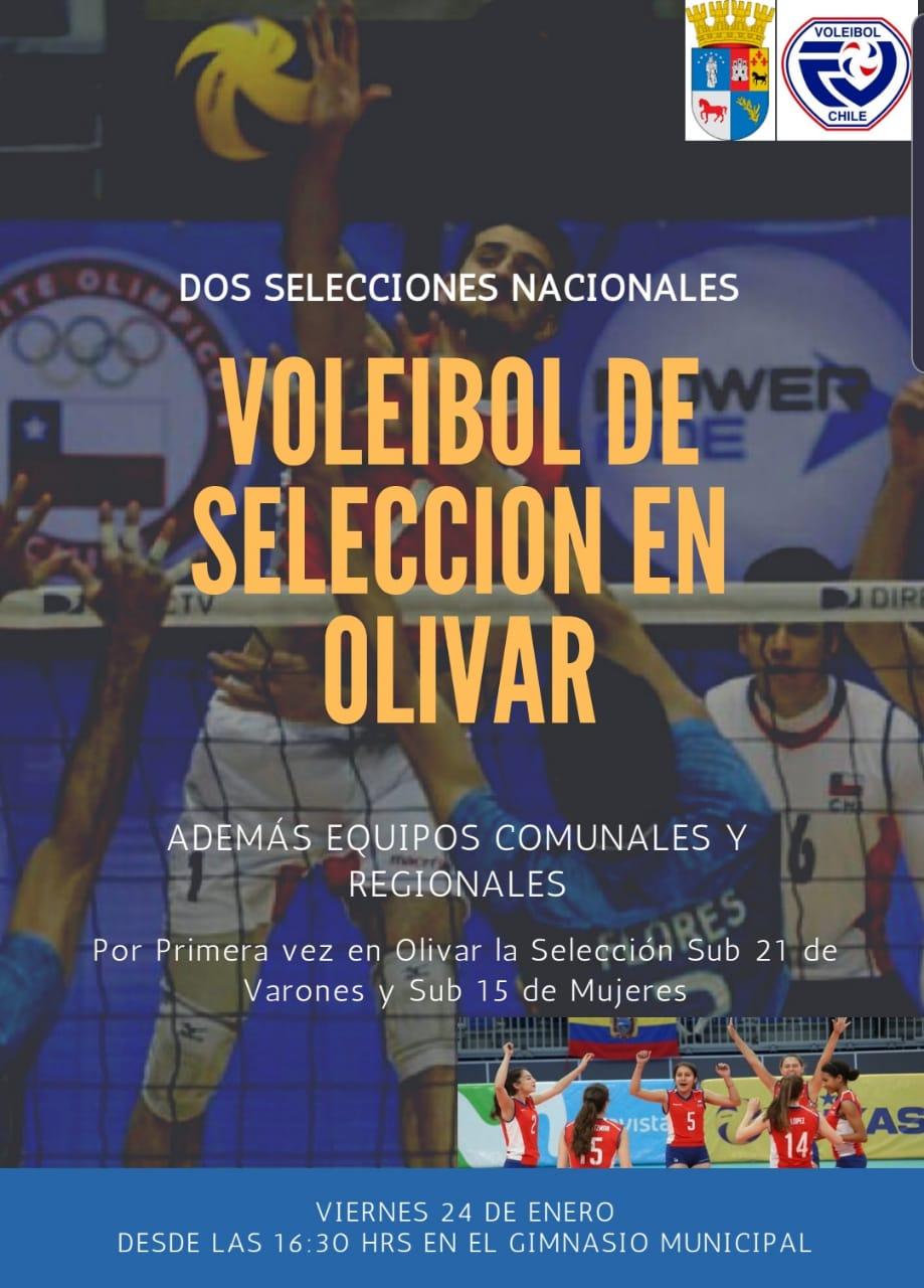 ESPECTÁCULO DEPORTIVO:  SELECCIÓN NACIONAL  SUB 15 Y SUB 21 DE VOLEIBOL EN OLIVAR