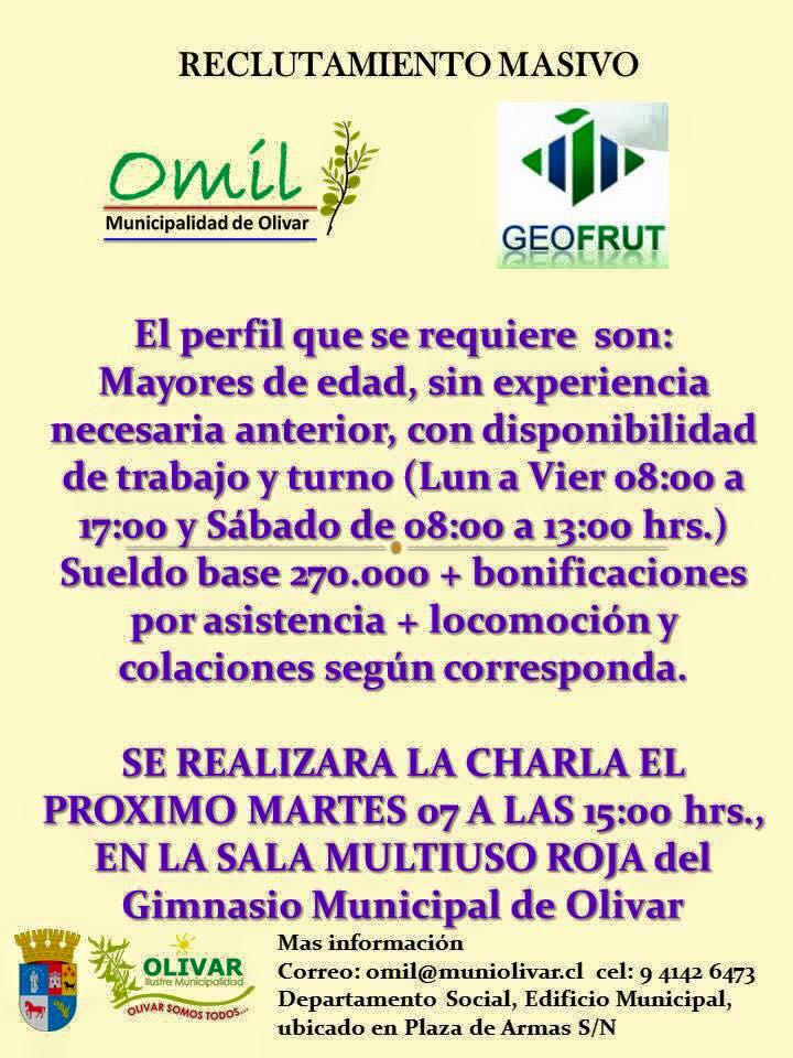 RECLUTAMIENTO MASIVO OMIL /GEOFRUT