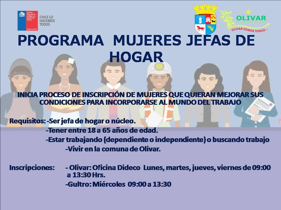 En Municipalidad de Olivar funciona Programa Mujeres Jefas de Hogar