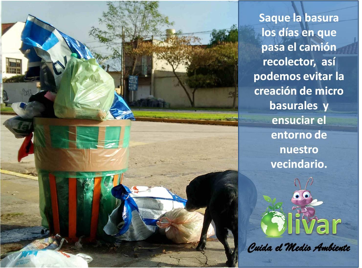 Horarios de retiro de basura /Cuidado del Medio Ambiente