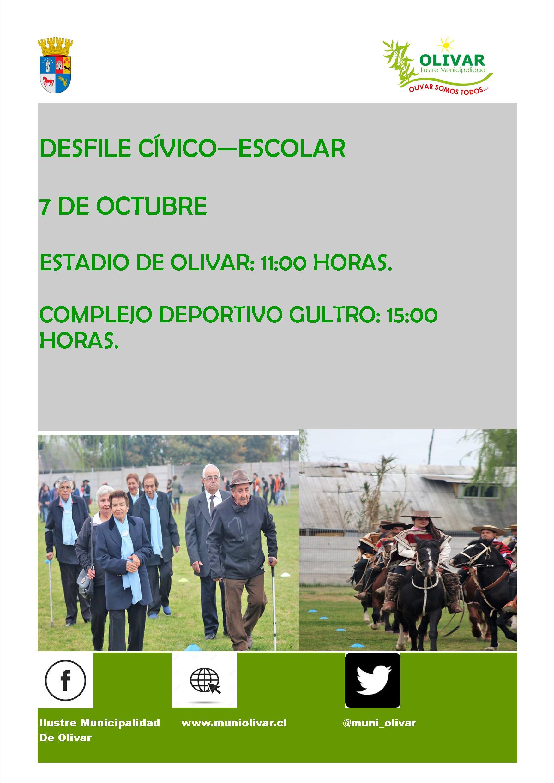 07 de Octubre: Desfile Cívico Escolar Olivar y Gultro
