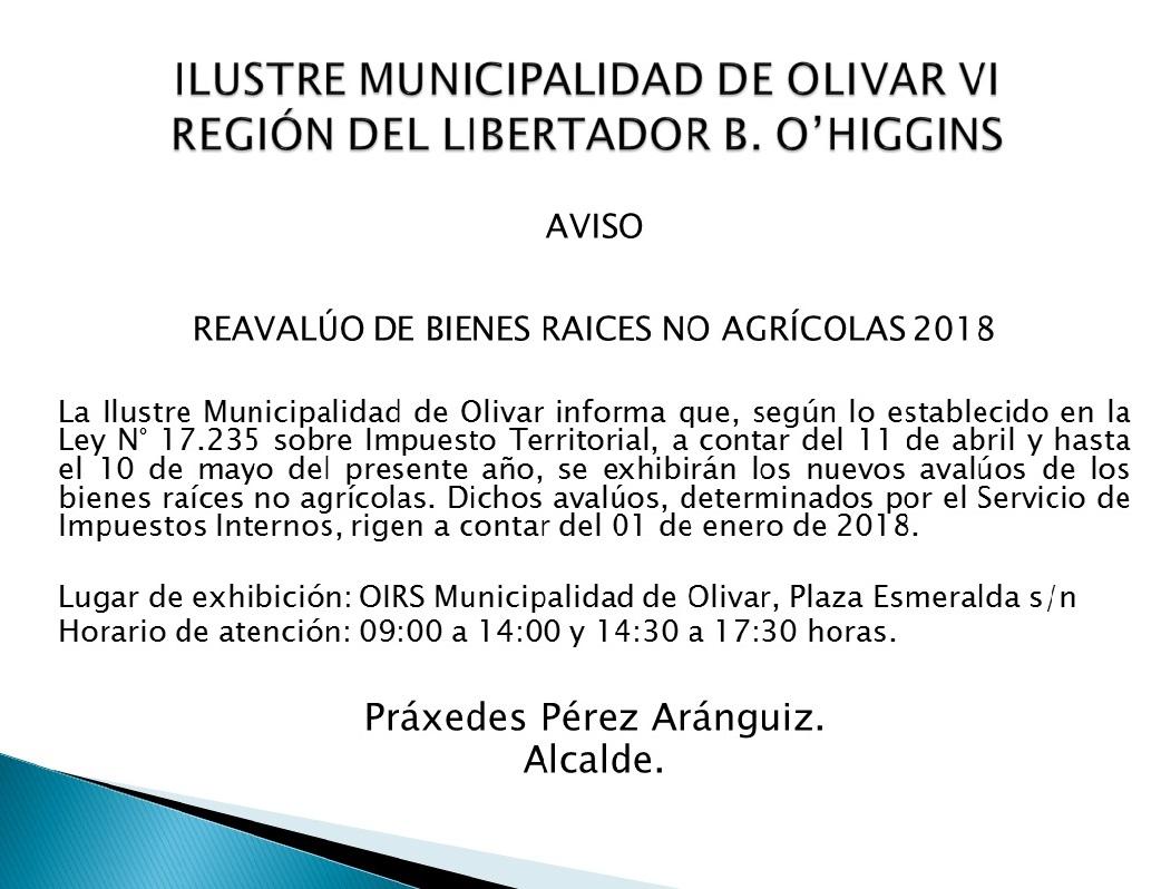 REAVALÚO DE BIENES RAÍCES NO AGRÍCOLAS 2018