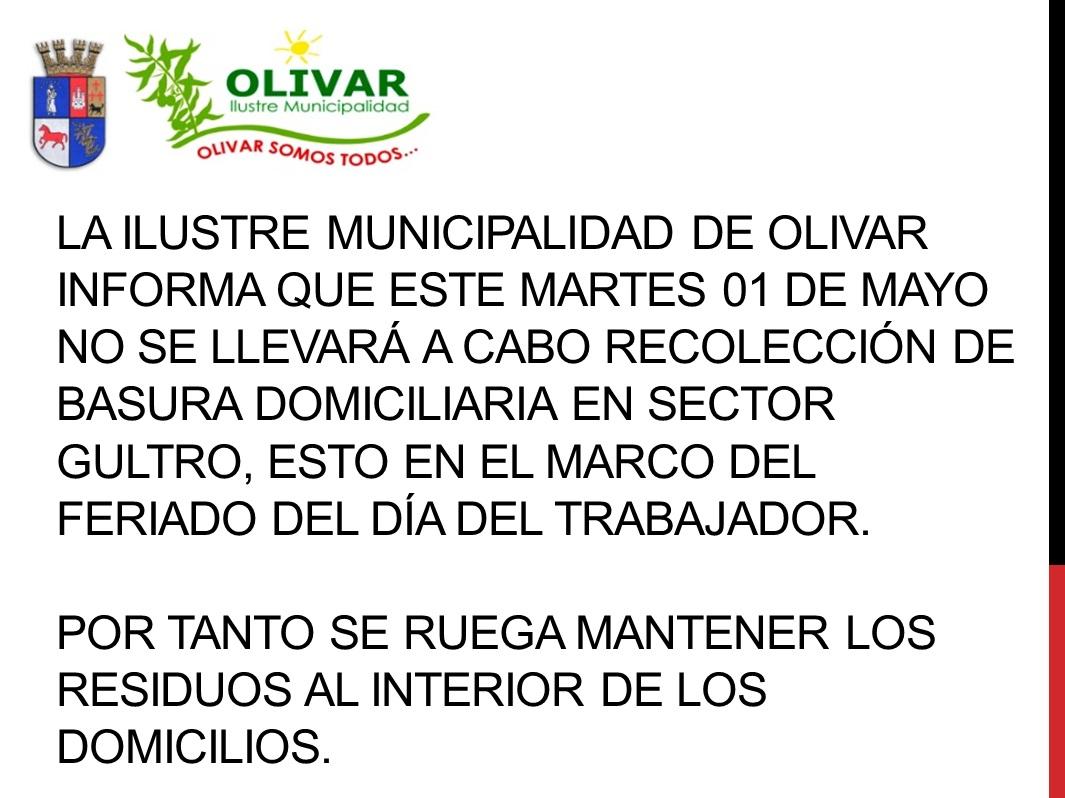 GULTRO: Se suspende retiro de basura el 1 de mayo por feriado