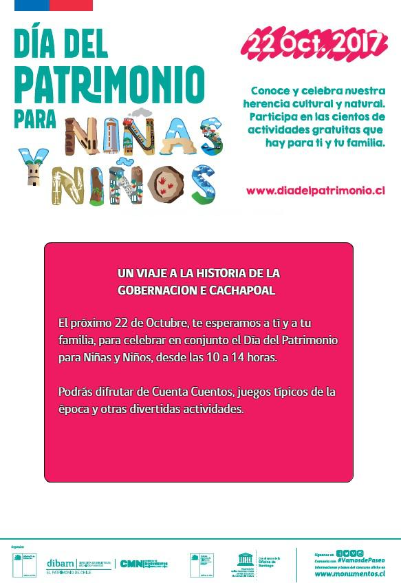 """Gobernación de Cachapoal abrirá sus puertas para celebrar """"Día del Patrimonio para Niñas y Niños"""""""