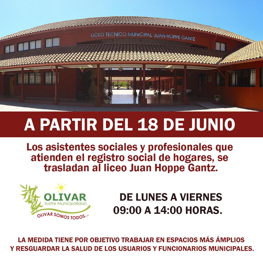 Atención de asistentes sociales y  RSH se traslada a Liceo Juan Hoppe