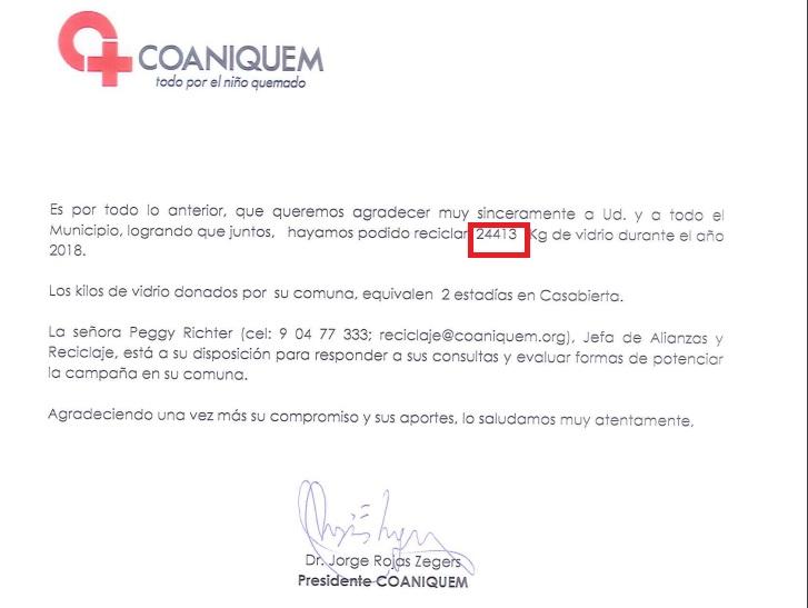 Olivar recaudó 24.413 Kg de vidrio en campanas de Coaniquem