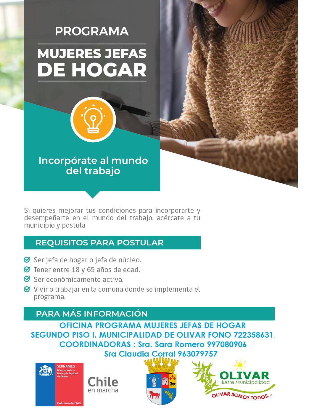 Programa Mujeres Jefas de Hogar abre sus inscripciones en Olivar