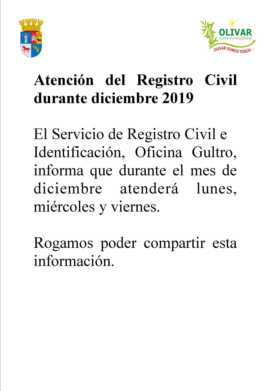CAMBIO EN HORARIO DE ATENCIÓN DEL REGISTRO CIVIL GULTRO DURANTE DICIEMBRE