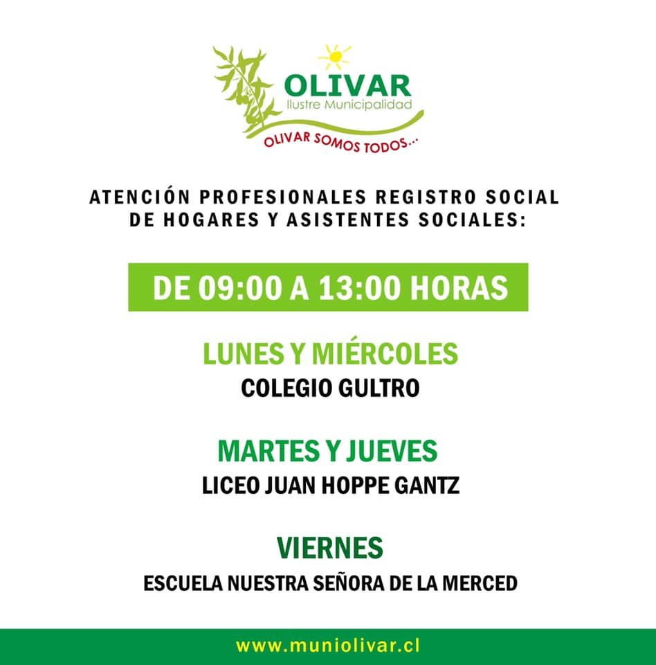 Atención de Registro Social de Hogares y asistentes sociales en los tres sectores de la comuna