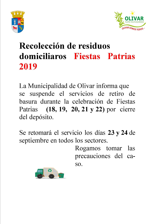 Retiro de residuos domiciliarios durante Fiestas Patrias 2019