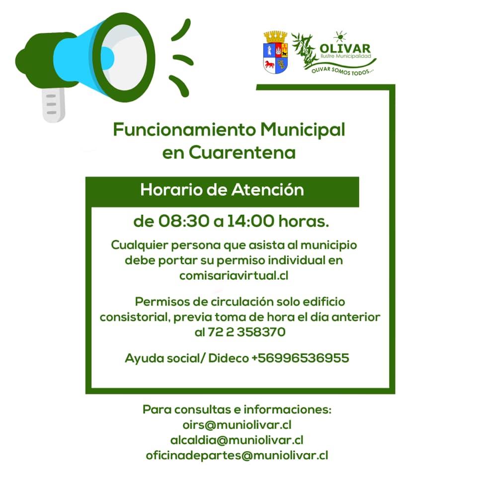 Municipalidad de Olivar informa modalidad de atención en cuarentena