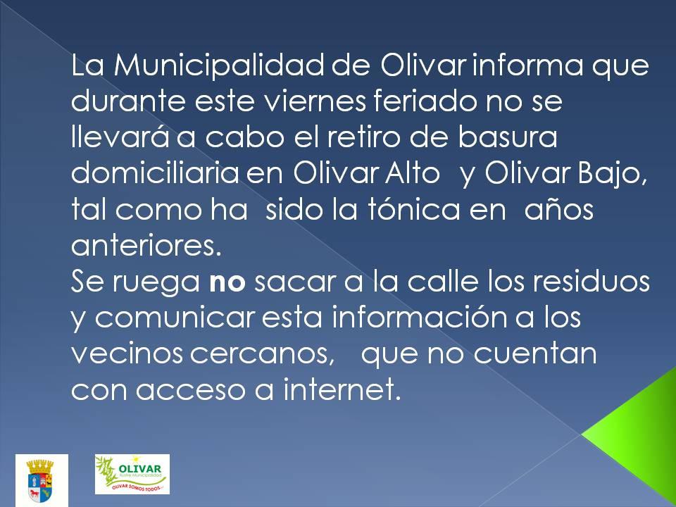 Aviso:  Camión recolector de basura no operará el viernes feriado en Olivar Alto y Bajo