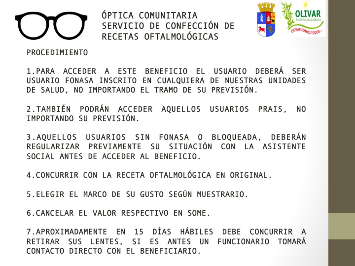 Conozca los requisitos para optar a los beneficios de la Optica Popular