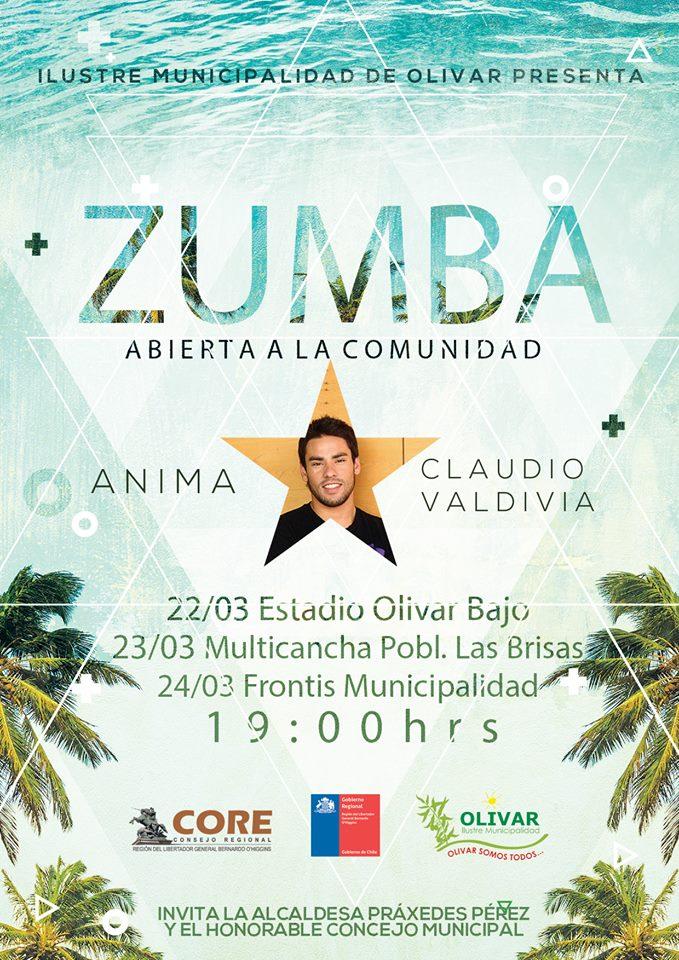 Zumba gratuita 22,23 y 24 de marzo: Anima Claudio Valdivia